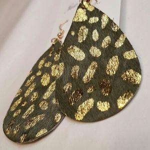 Green Leopard Print Leather Earrings 2/$25